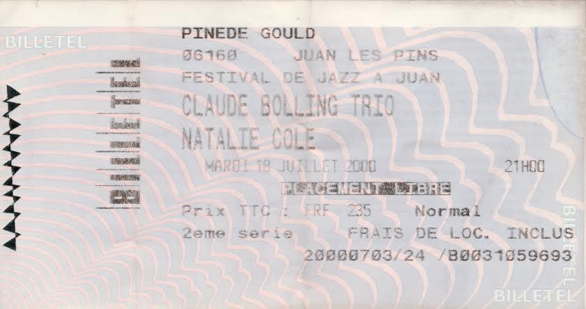 Le billet du concert de Natalie Cole en juillet 2000