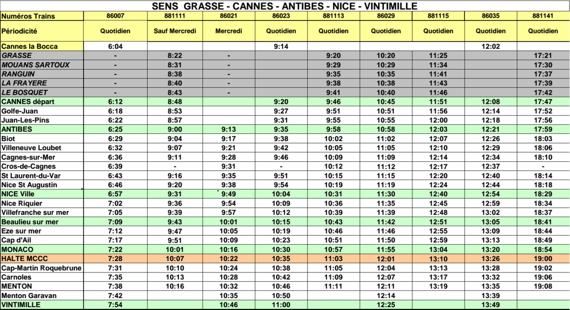 horaires TER 2